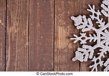 snowflakes, op, een, houten, achtergrond