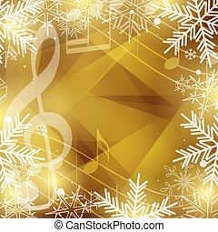 snowflakes, ouro, notas, feriados, vetorial, música, fundo, natal