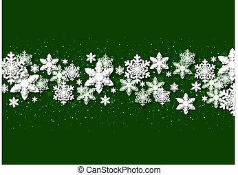 snowflakes, papel, natal, fundo, verde