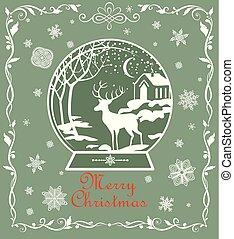snowflakes, papier, landscape, kaart, uitsnijden, groet, frame, kerstmis, groen licht, winter, globe, decoratief, ouderwetse , rendier