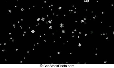 Snowflakes particles fallen down on black screen -...