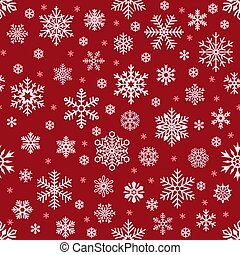 Snowflakes pattern. Christmas falling snowflake on red backdrop. Winter holiday snow seamless vector background