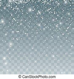 snowflakes., pattern., isolé, chute neige, vecteur, illustration, fond, tomber, transparent