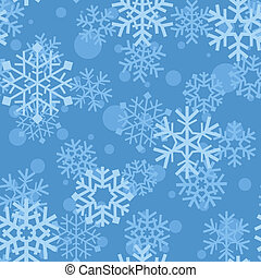 Snowflakes pattern - Snowflakes on blue background. Winter...