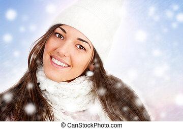 snowflakes., portrait, girl, hiver