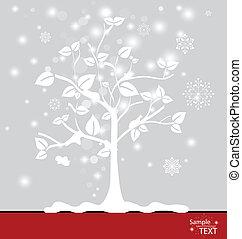 snowflakes., résumé, vecteur, arbre, illustration.