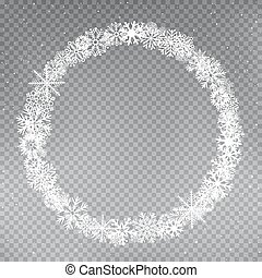 snowflakes round frame template