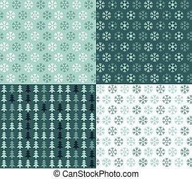 snowflakes, seamless, árvores, quatro, padrões, natal