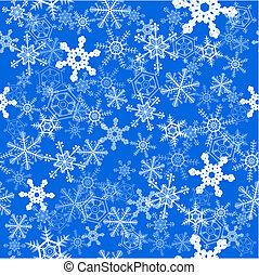 Snowflakes seamless background - Winter snowflakes over blue...