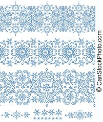 Snowflakes seamless border. Winter pattern