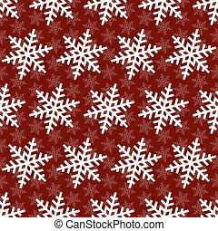Snowflakes seamless pattern. Christmas falling snowflake on red backdrop