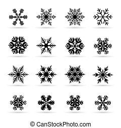 snowflakes., set, black