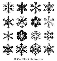 Snowflakes Set for Christmas and Winter Design - 16 Snow Crystals