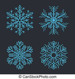 Snowflakes Set for christmas winter design. Vector