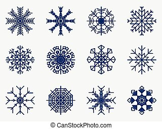 Snowflakes set icon isolated on white background. Vector illustration