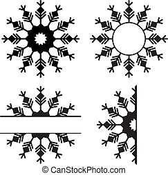 Snowflakes set laser cutting. Isolated on white background. Christmas ornament template for banner, greeting card, creative promotion card.