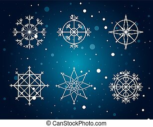 snowflakes set of decorative christmas