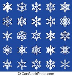 Snowflakes set on blue background