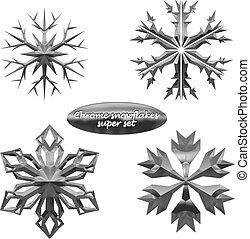 Snowflakes set. Vector chromed metal snowflakes
