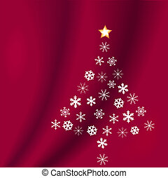 Snowflakes Shape Christmas Tree on Red