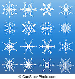 Sixteen different snowflake designs