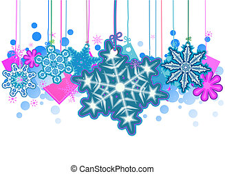 Snowflakes Strings with Clipping Path