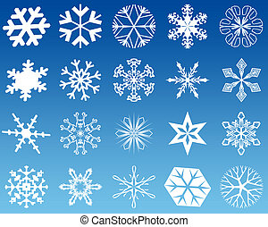 Snowflakes twenty - Twenty new 2d shapes of white snowflakes