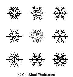 snowflakes., vecteur, noir, collection, illustration