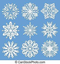 snowflakes., vecteur, papier, ensemble, illustration