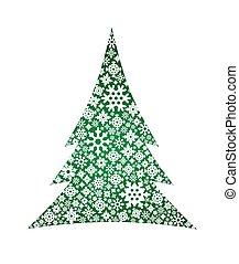 snowflakes., vector, boompje, kerstmis, illustratie