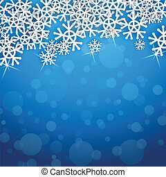 snowflakes vector card with blue