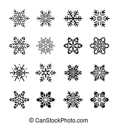 snowflakes., vektor, svart, illustration., kollektion