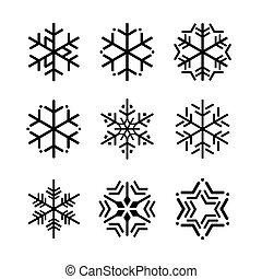 snowflakes., vektor, svart, kollektion, illustration