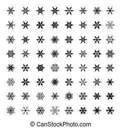 snowflakes., vetorial, pretas, cobrança, ilustração