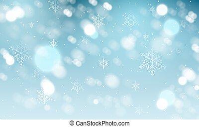 snowflakes., vettore, inverno, fondo, sfocato