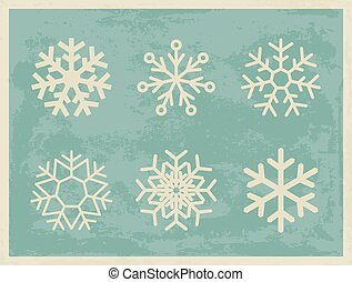 Snowflakes vintage collection on grunge retro background.