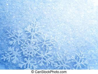 snowflakes., vinter, snö, bakgrund., jul