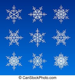 snowflakes white isolated on blue