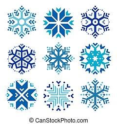 Snowflakes, winter blue icons set