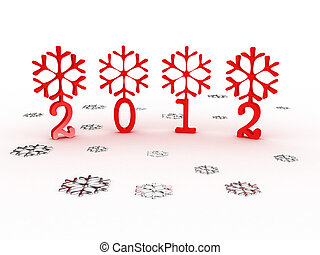 Snowflakes with 2012 year on white background. 3D image