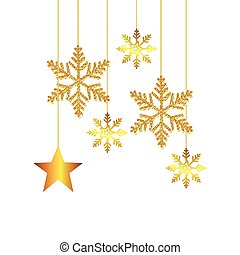 snowflakes with star golden of christmas hanging