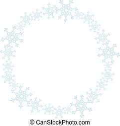 Snowflakes wreath ornament. Winter vector isolated decoration