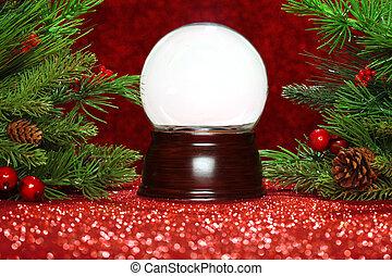 snowglobe, 空, 分支, 圣诞树