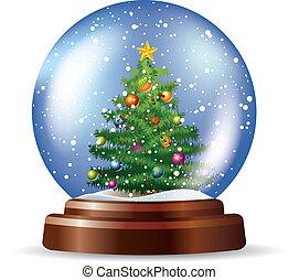 snowglobe, albero, natale