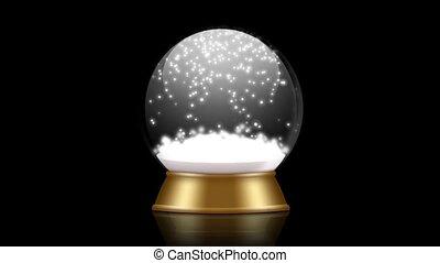snowglobe animation on a black background