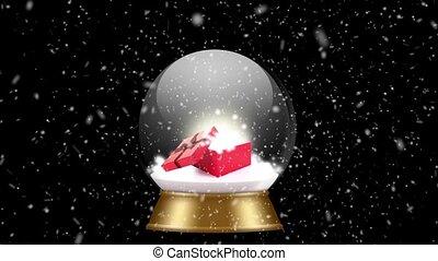 snowglobe animation on a black