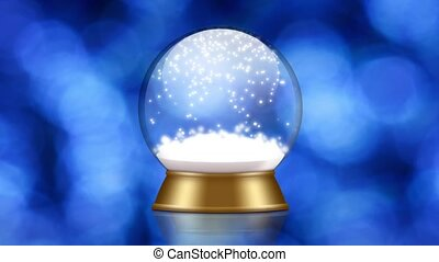 snowglobe animation on a blue background