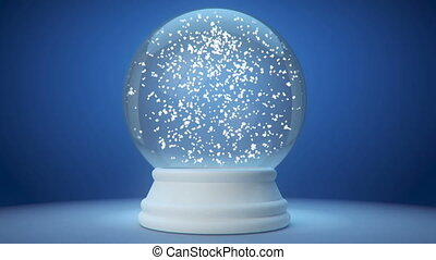 snowglobe animation on a blue gradient background