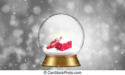 snowglobe animation on a gray