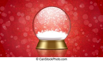 snowglobe animation on a red background